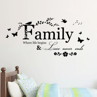 English Family carved living room bedroom wall stickers wholesale trade removable waterproof home decor Hot 2016 New ZY8346