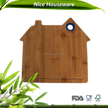 Silicone Hole Antibacterial House Shape Bamboo Cutting Board
