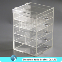 Deluxe Diamond Handle Clear Acrylic Makeup Organizer 5 6 7 Drawer Kardashian-style Storage Box Cube Case w Flip Top Quality