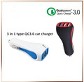 Universal 3 port usb car charger Qualcomm quick charge 3.0 phone charger mobile for car