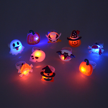 Halloween jewelry Flash Glowing Ring Pumpkin&ghost and skeleton ring For Kids JN JZ066