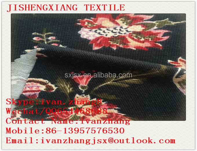 2017 Jishengxiang Textile Hot Sale Soft Smooth Knit Stretch Poly Angora Printed Apparel Fabric