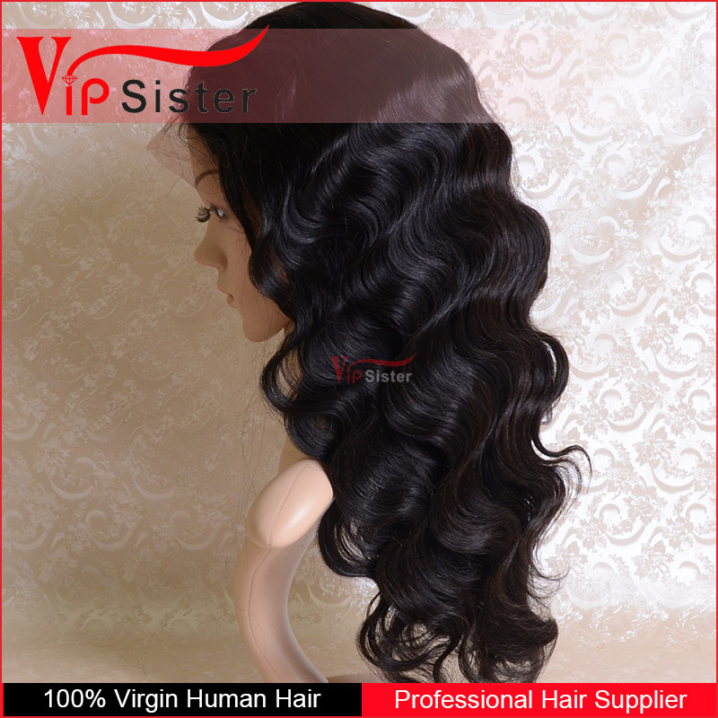 Wholesale 100% malaysian black straight virgin hair full lace wigs