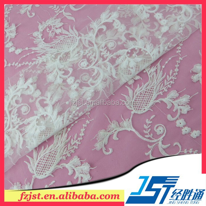 Beautiful floral Embroidery voile organza Fabric for wedding dress