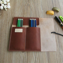 Genuine Leather 100% Handmade Vintage Large Space School Pencil Case Leather Estuche School Estuche Pen Case Made in China
