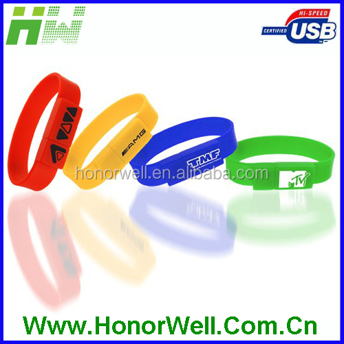 Debossed Printing Silicon Bracelet USB 2.0 Flash Drive Giveaway Present Usb Disk 32GB 16GB 8GB 4GB Imprinting Any achieve Goals