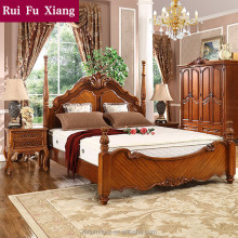 European rustic wood structure double bed with unique design and handmade carving B-276