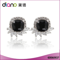 Latest design black stone high fashion jewelry 925 silver earring for women