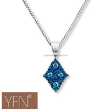 Trend Necklace Jewelry 2015 Blue Diamond Necklace Round Cut Sterling Silver