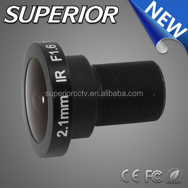 fiber optic camera lens!! ir filter 1/2 inch ccd cmos sensor 2.1mm m12 5megapixel waterproof wide angle fisheye lens