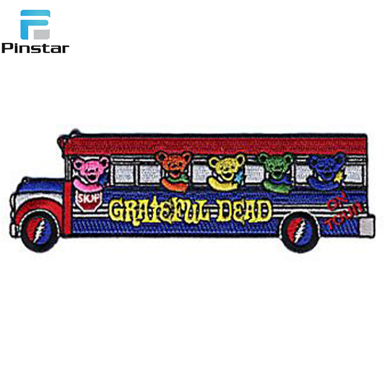 Factory direct wholesale custom grateful dead school bus embroidery patches badge