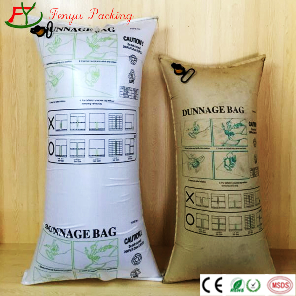 best quality kraft paper and pp woven air dunnage bags for cargo container void fill