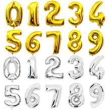 40 inch Foil Balloon Large Helium Number Balloons Wedding Decoration Birthday Party Souvenirs favors Golden Silver