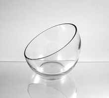 "GV-039 Clear Slant Cut Bowl Glass Vase/Glass Terrarium, 6"" x 2.7"" With Glass Cleaning Cloth"