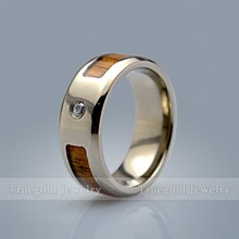 2015 New Wood Inlay Diamond Stainless Steel Ring Titanium Ring Wedding Rings Women Engagement Band TG705R