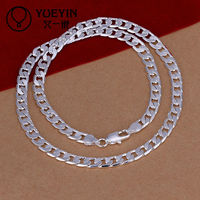 Fine quality silver plated twisted circle chain necklace