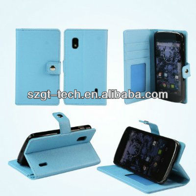 Newest design leather case for google nexus 4 leather standing smart cover case