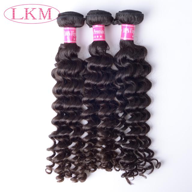 LKM New style Peruvian virgin hair Unprocessed natural color Peruvian hair deep wave for Sex black women