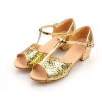 TSW5179 Gold silver sequins kids dance shoes mid heels soft sole girls latin dance shoes