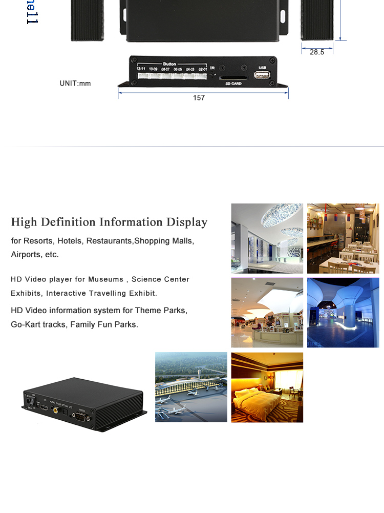 Video file selection 12 pcs push button museum use h 264 video player digital music player best media player