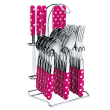 dot design stand for spoons and forks printed plastic cutlery