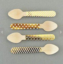 Foil Gold chevron dot disposable spoons glitter Gold wooden cutlery utensil for party holiday resturant