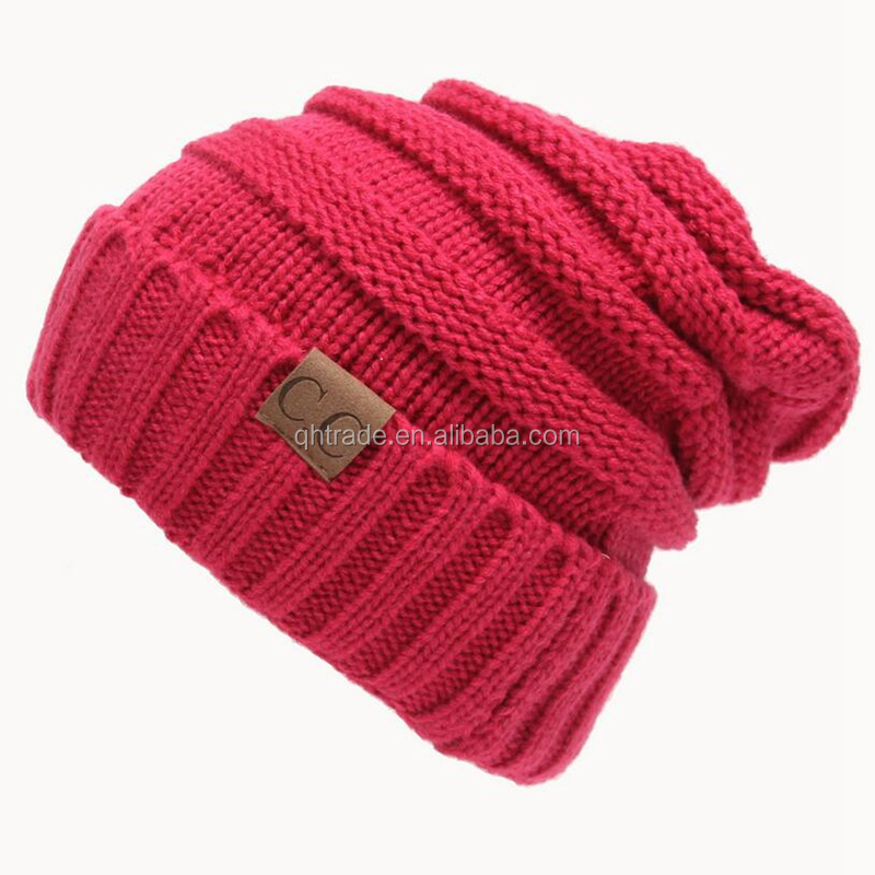2017 Wholesale Trendy Warm Chunky Soft Stretch Cable Knit Slouchy Beanie