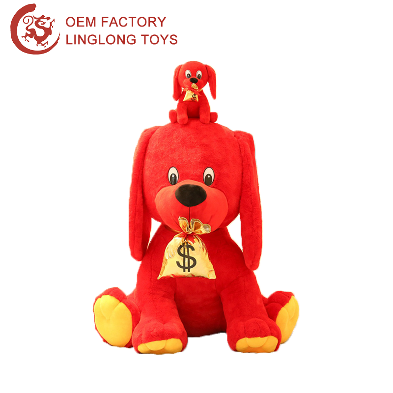 Promotional New Year Gift Puppy With Gold Money Bag Soft Red Doggy For Child Toy Plush Sitting Dog With Lucky Bag