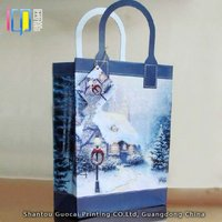 Promotional snow photo CMYK printing paper carrier bag for christmas gift