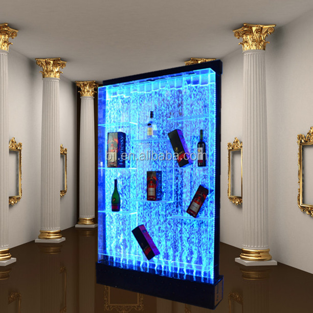 led lighting water bubble wall,wine display cabinet,mix color changing