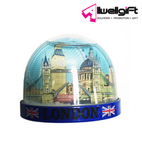 Tourist souvenir gift firdge magnet half-sized photo insert snow globe water ball with fridge magnet