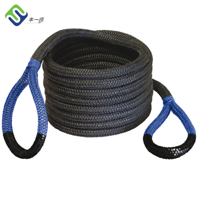 High tensile double braided nylon recovery tow rope for trucks