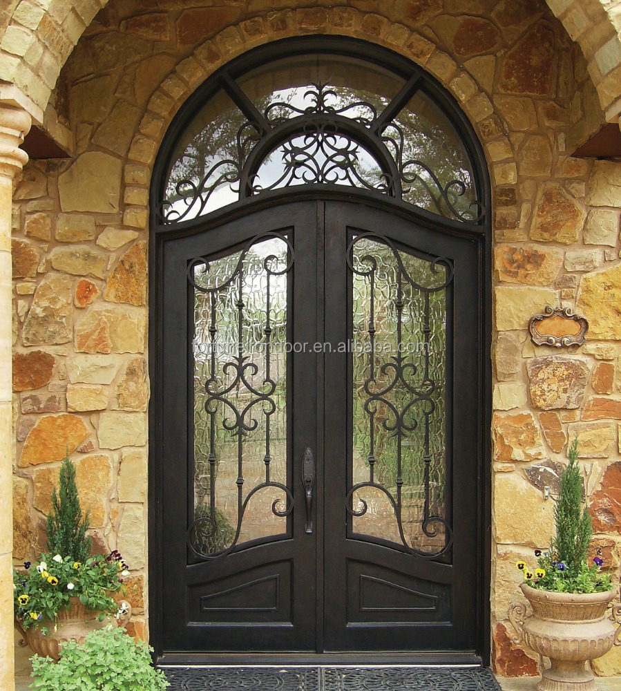 Arch Top Wrought Iron Entry <strong>Door</strong> with Glass Windows