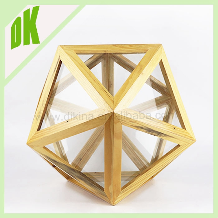 Hot sale classical wedding crystal ball wooden carved puzzle oriental glass candle holder carousel