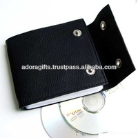 Black leather cd case wholesale / cool cd carrying cases / best quality cd cover leather material