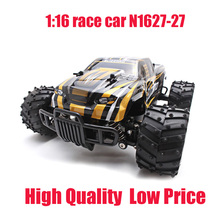 Factory Cheap 1:16 Scale Model 2WD Big Wheel 27MHz Rechargeable Electric Power Radio Remote Control High Speed Car , Gold /Red