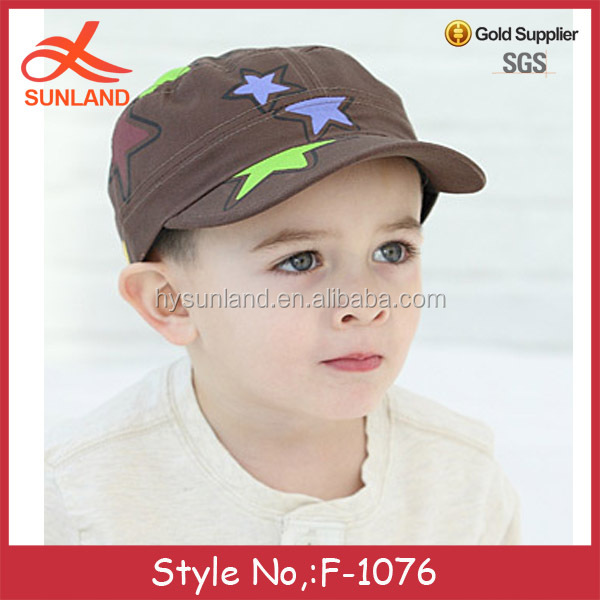 F-1076 new 2016 fashion cute kids cotton five-pointed star hats wholesale