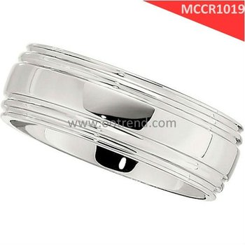 cobalt chrome molybdenum rings for men,with grooved and shiny polished finish