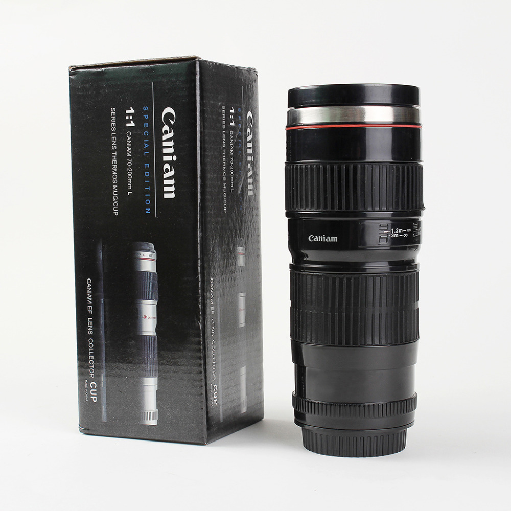 Hot Selling Good Quality Creative Caniam 70-200 Camera Lens Double Wall Stainless Steel Black Trave Plastic Sport Man Mug Bottle