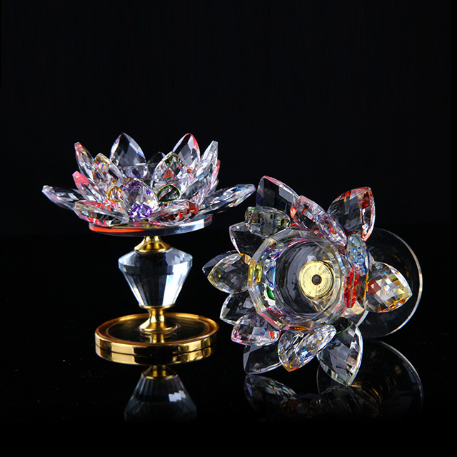 Flower Shape Crystal Lotus Candle Holder Glass Candlestick F4-C04