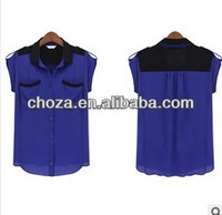 C60733A THE NEWEST FASHION AUTUMN DESIGN FOR WOMEN'S FORMAL SHORT SLEEVE BLOUSE