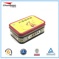offset printing rectangle candy tin can food grade metal tin box with hinged lid