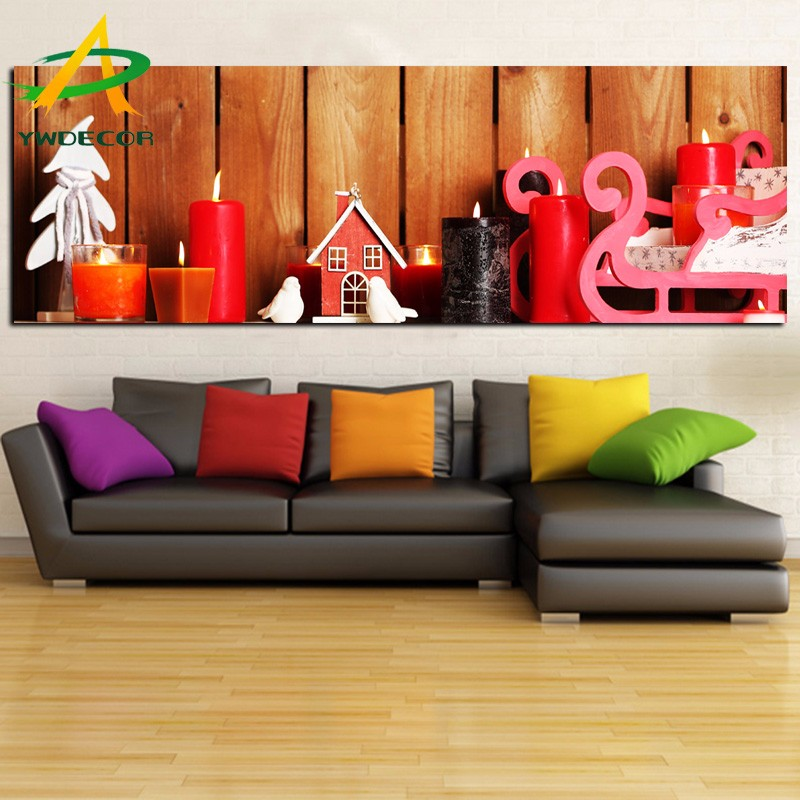 Christmas Candle Decoration Gift Warmful Picture On Canvas With LED Lights LED Fabric Wall Painting