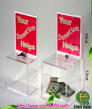 acrylic donation box display money carrying case