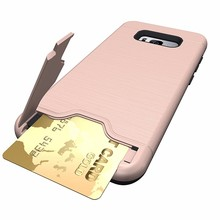 Free Sample Brush Anti Scratch Slim Hybrid Hard PC Soft TPU Case For Samsung Galaxy S8 Cell Phone Back Cover With Kickstand