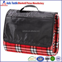All Purpose red black checked printed plush picnic blanket Outdoor Beach Travel Camping Fleece blanket