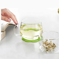 Handmade Heat-resisting Drinking Clear Glass Tea Cups With Glass Filter