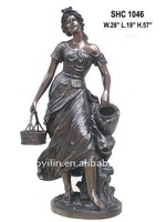 Bronze Maiden with Pitcher Statues
