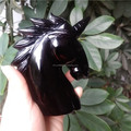 Natural black obsidian stone unicorn craft crystal aninal figurine skull