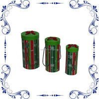Lovely Xmas Round Cardboard Gift Box with Rope Handle